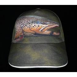Brown trout green baseball trucker hat